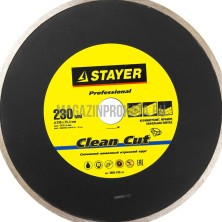 """STAYER """"PROFESSIONAL 25,4х230мм. Круг отрезной алмазный STAYER """"PROFESSIONAL"""", сплошной, влажная резка, для электроплиткореза, 25,4х230мм,"""